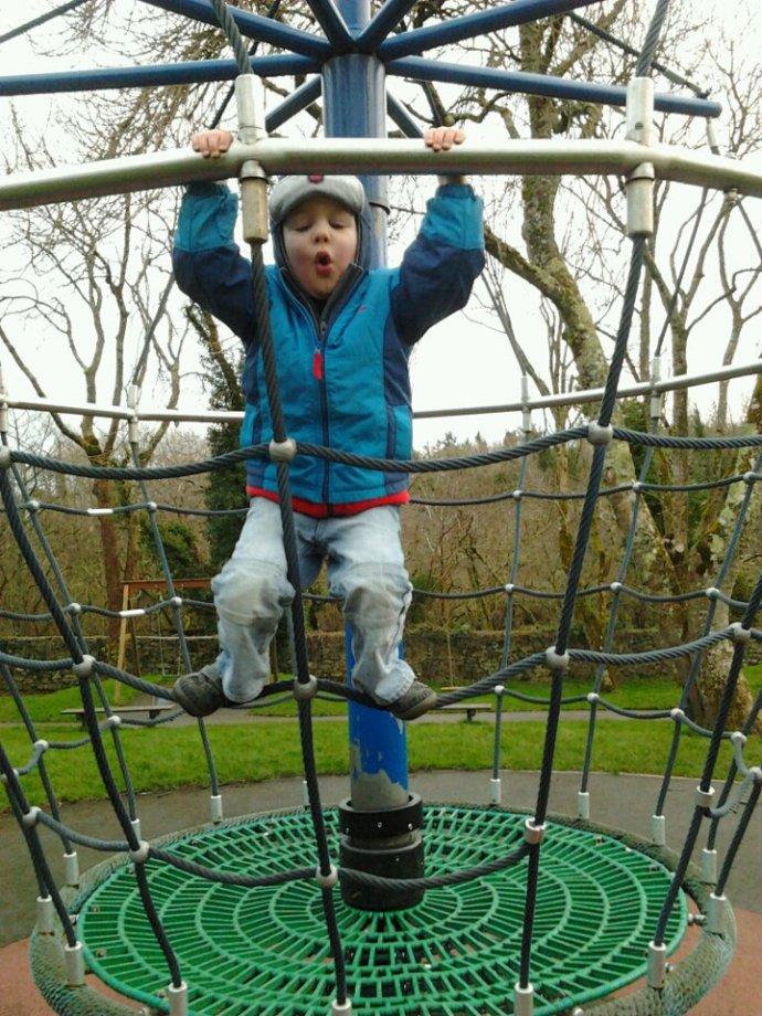 Cathal climbing