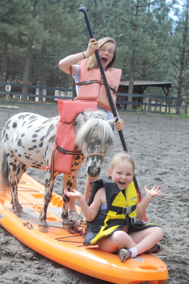 Jiggy, Ryleigh, and Makenna give it a go on dry land first.