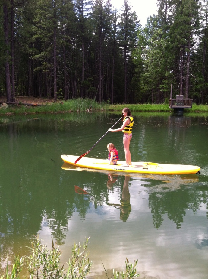 Lynne's Pond with Ryleigh and Makenna